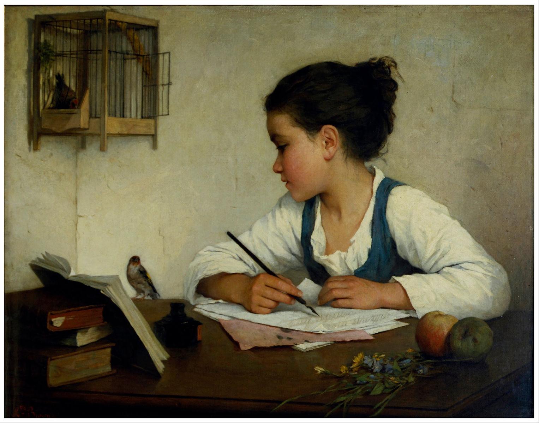 A Girl Writing Henriette Browne