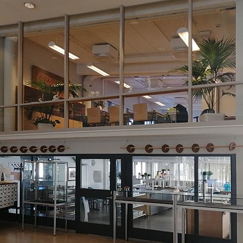 Kuva Norssin pääaulasta, jossa näkyy paljon lasiseinää kahdessa kerroksessa.