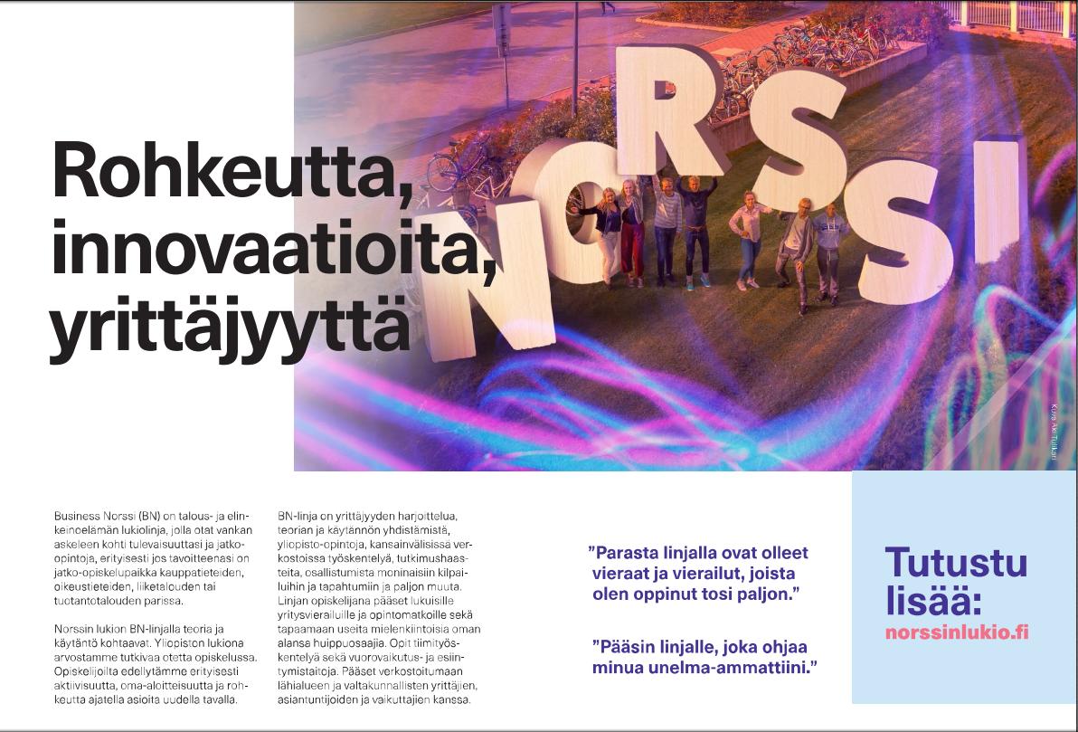 Kuvassa on suurella NORSSI-teksti ja joukko lukion opiskelijoita ulkona.