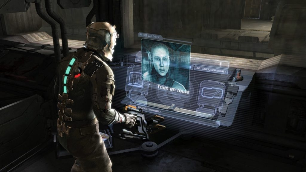 Dead Space (EA, 2008) shows how creative use of holograms can be used as HUD elements to maintain immersion.