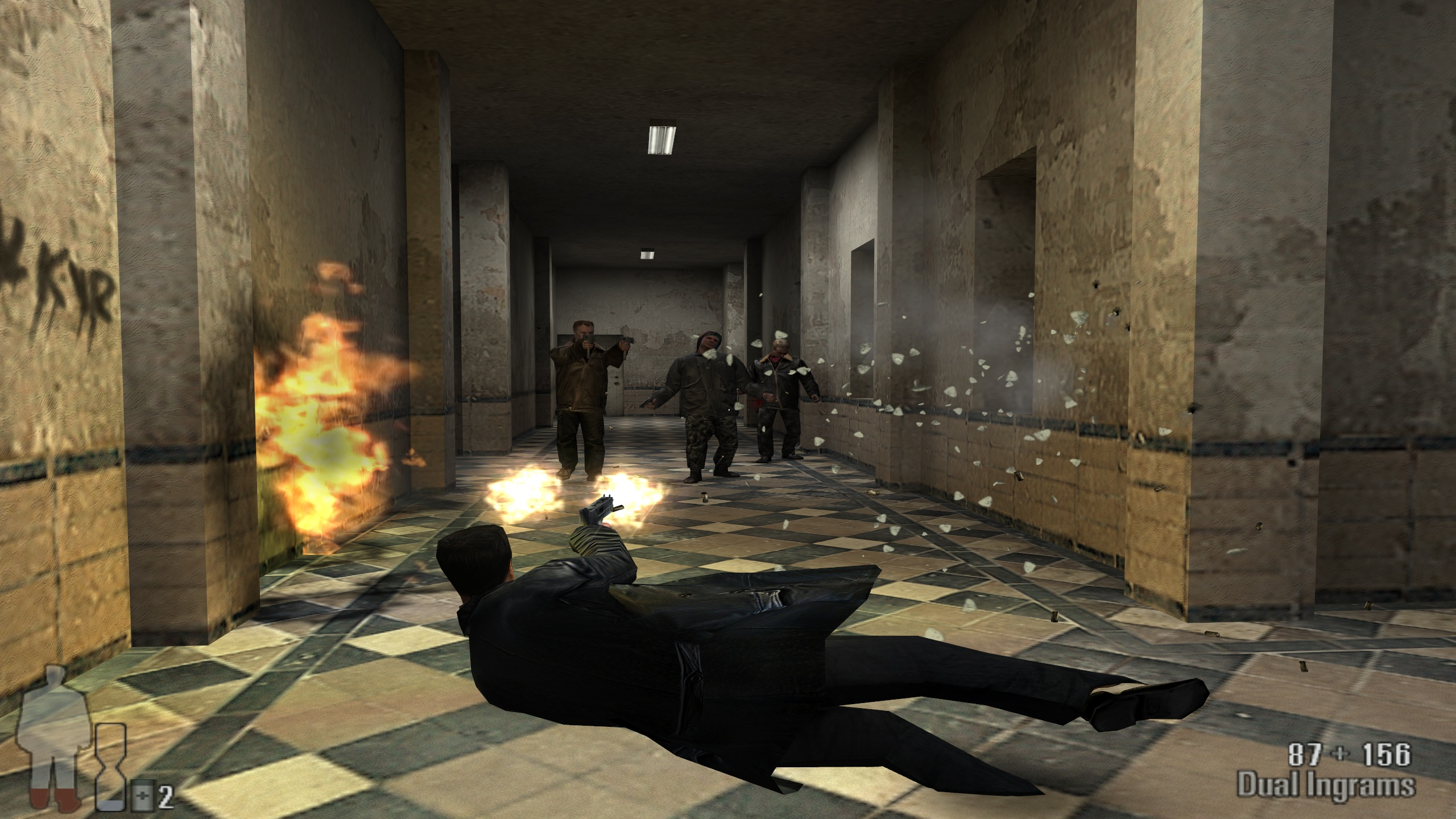 """Bullet time"" is the key to winning firefights. It was also the key selling point of the game."