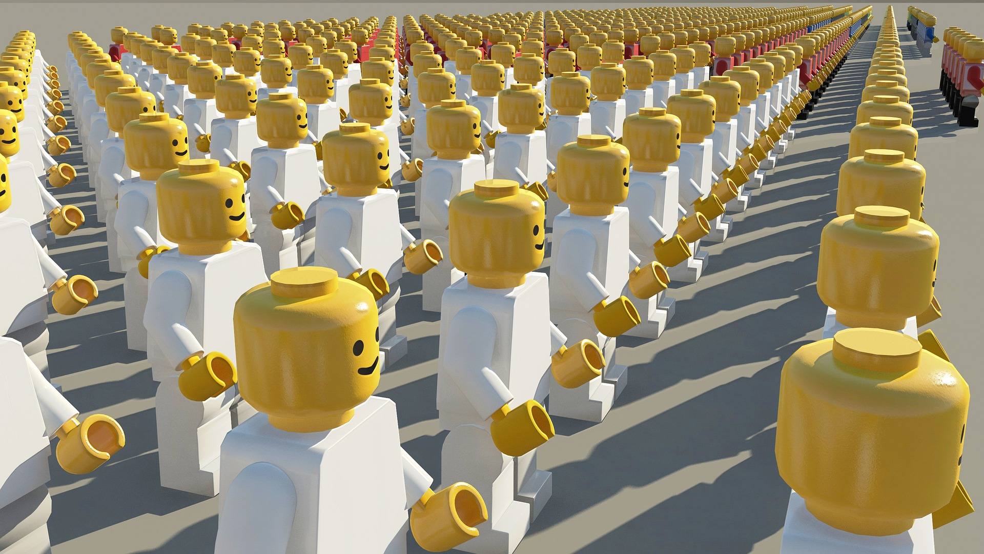 Uniform LEGO minifigures standing in a formation