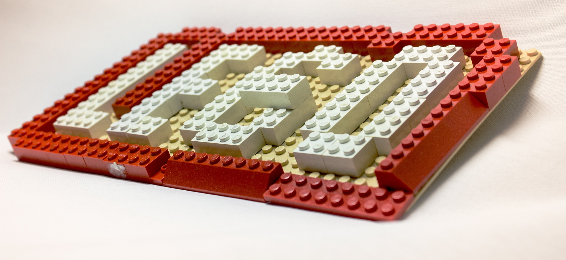 The LEGO logo made of LEGO bricks