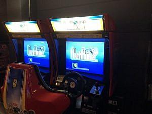 An arcade game cabinet for Outrun 2.