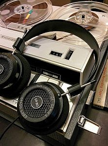 Headphones on a tape recorder.