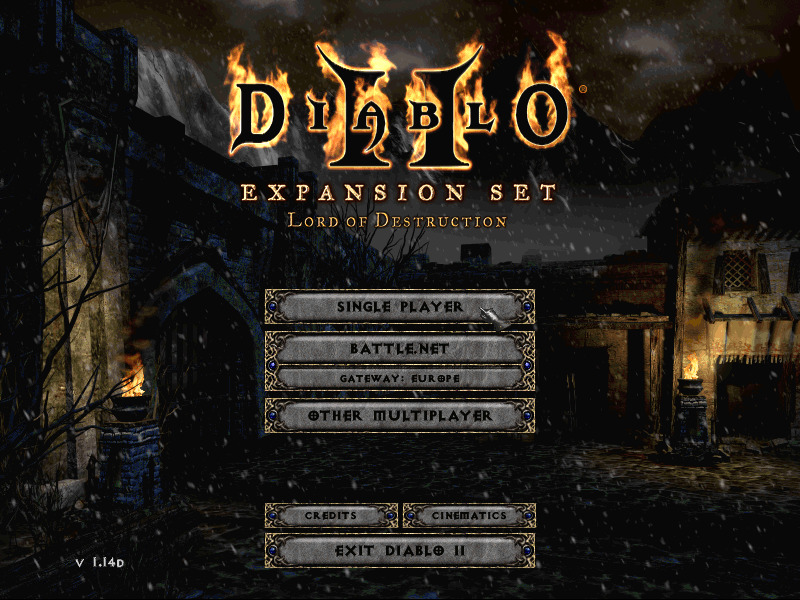 Title Screen of Diablo 2 Epansion set: Lord of Destruction. The letters on the name are ablaze.