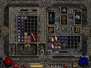 The inventory: Gear, charms and many potions. Stash: Many gems, jewels, and other items.