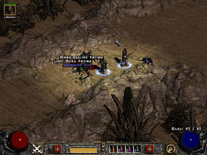Loot on the ground in act 2: two potions and a throwing axe.