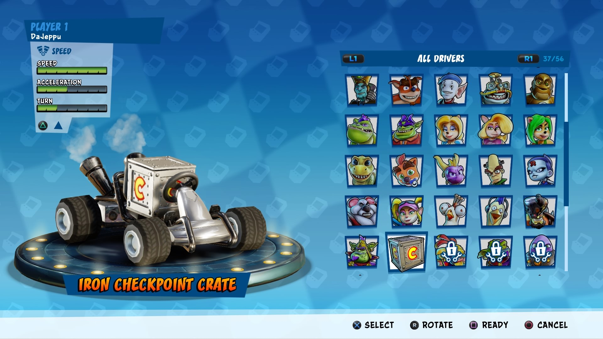 Customization menu such featuring a lot of selectable characters.