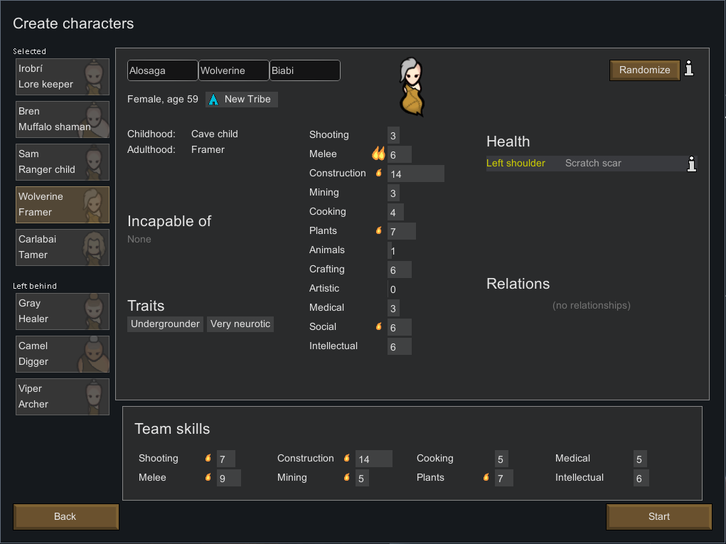 A picture of character creation screen