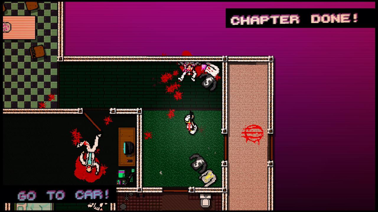 Gameplay picture with the character surrounded by dead bodies inside a house.