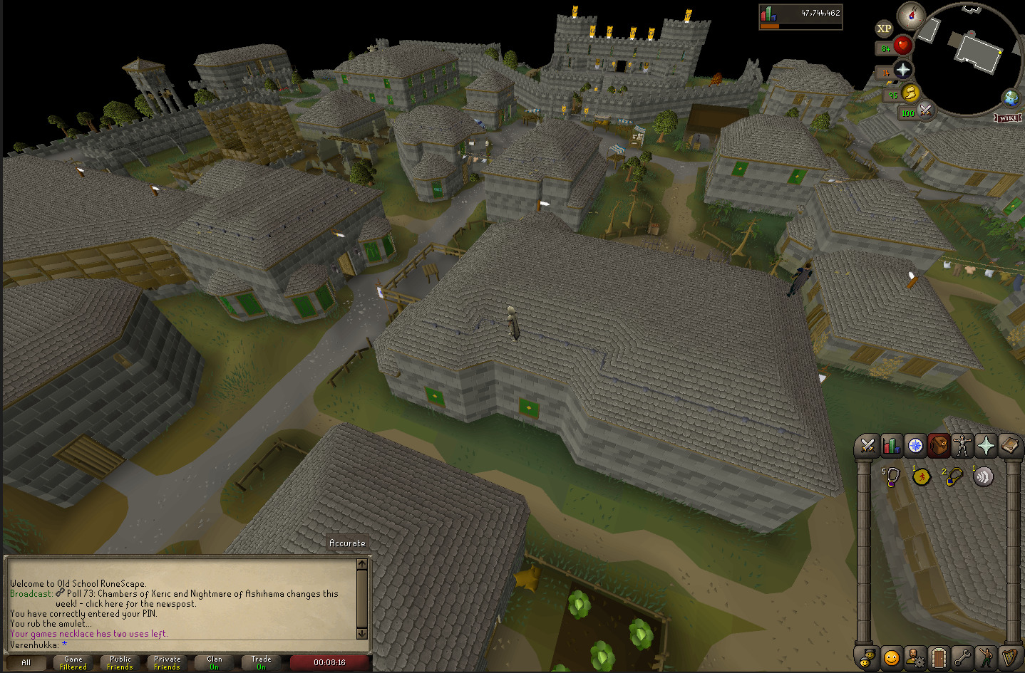 A view from a rooftop in Varrock