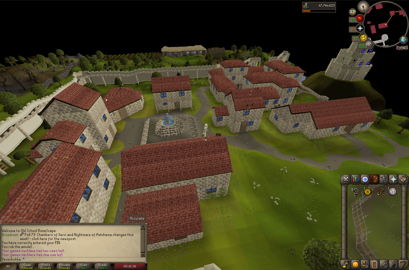 A view from a rooftop in Falador