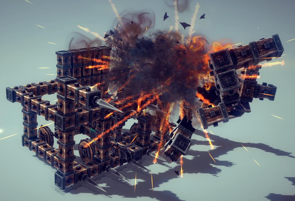 A siege engine exploding