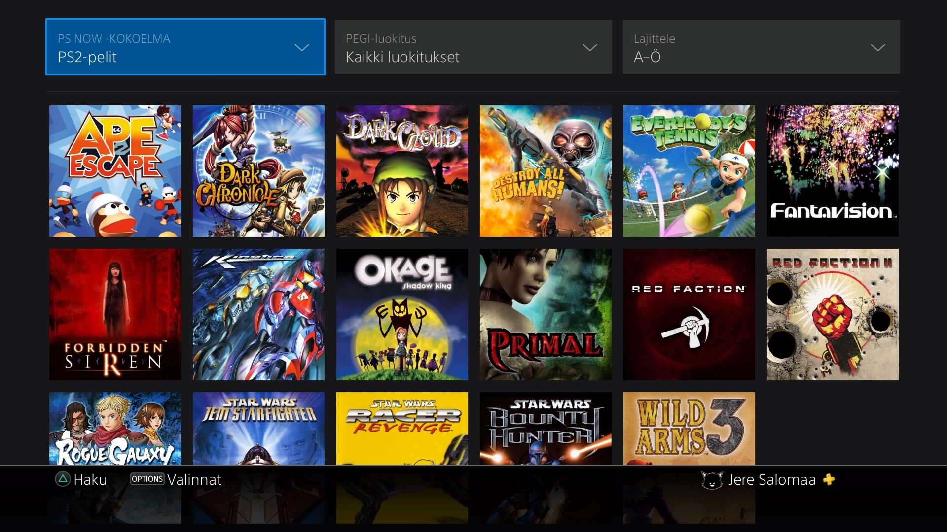 PS Now menu of playable Playstation 2 games.