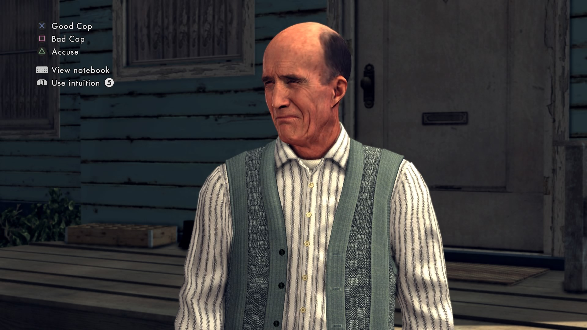 Interrogation scene in the detective game L.A. Noire.