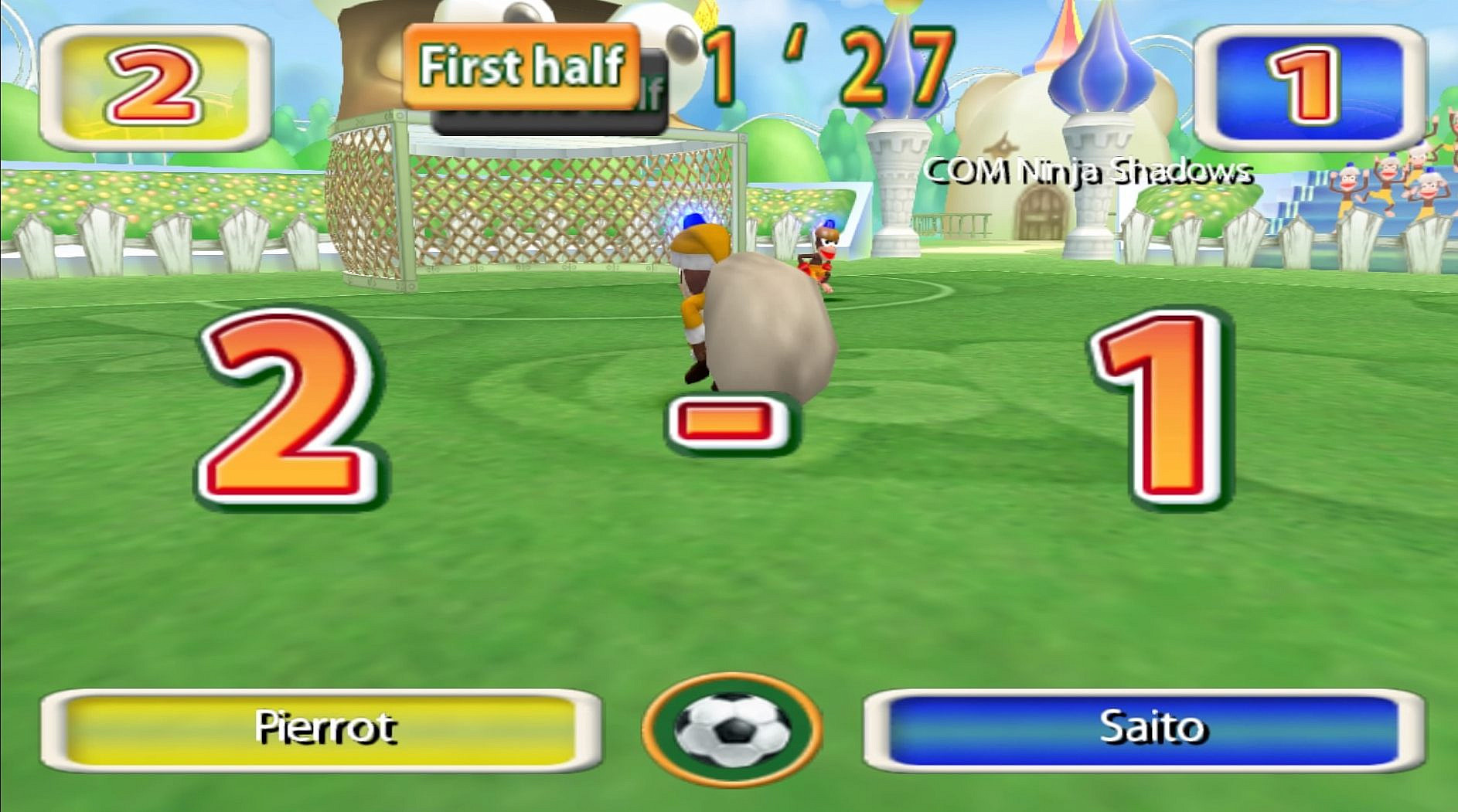 Monkey Football gameplay and celebration after a goal.