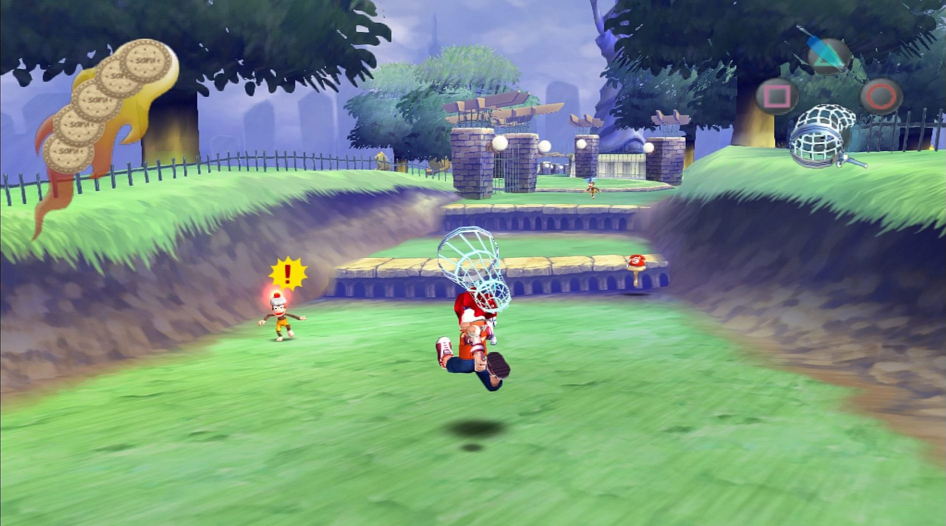 Main character Hikaru chasing down a monkey with a net.