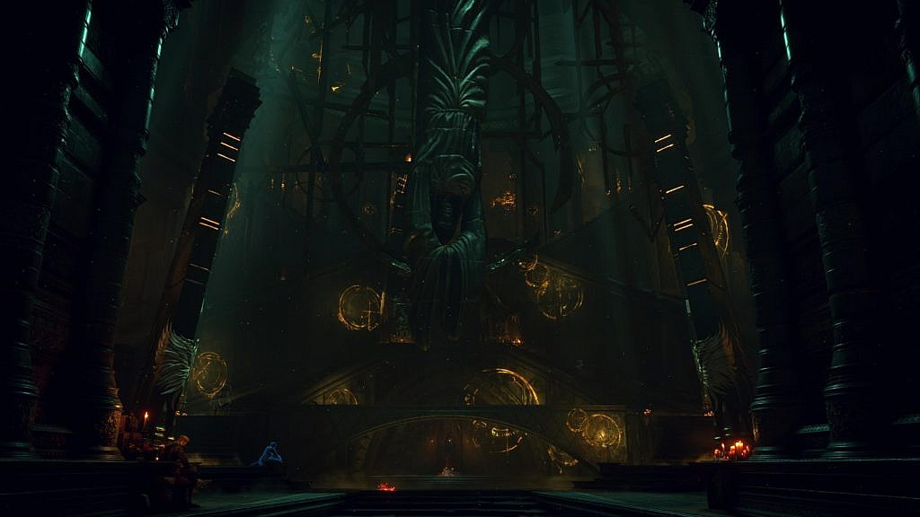 A dark place with a statue in the middle, large staircases, candles, and characters in the back