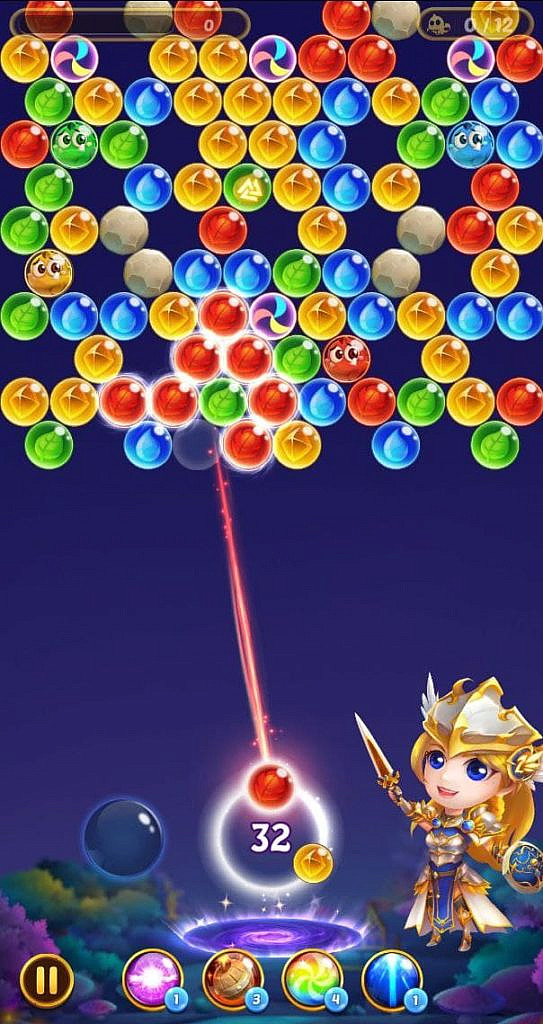 The valkyrie has raised their sword as the player aims, making the bubbles about to be hit glow.