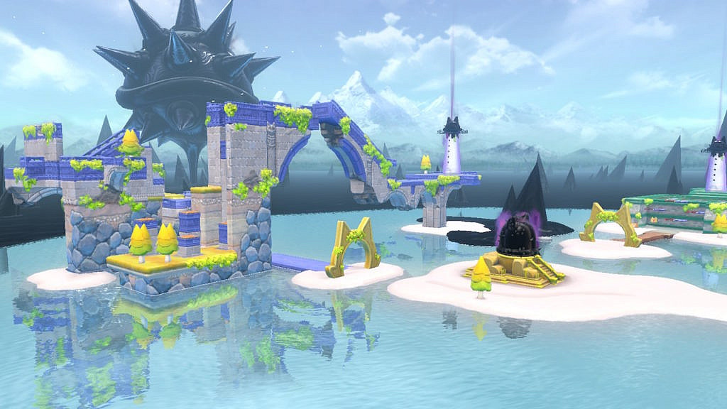 Overview of a course in Lake Lapcat. A gigantic Bowser covered in dripping black oil is looming behind the scenery.