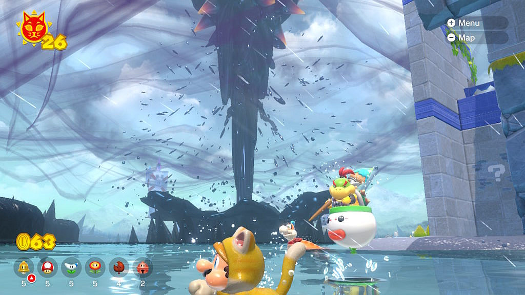 Mario in a catsuit is swimming across the lake, while in the backaground Bowsers is spinning up an oily hurricane.