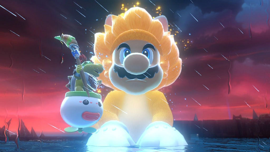 A gigantic catsuit Mario is sitting in a stormy lake with Bowser Junior beside him.