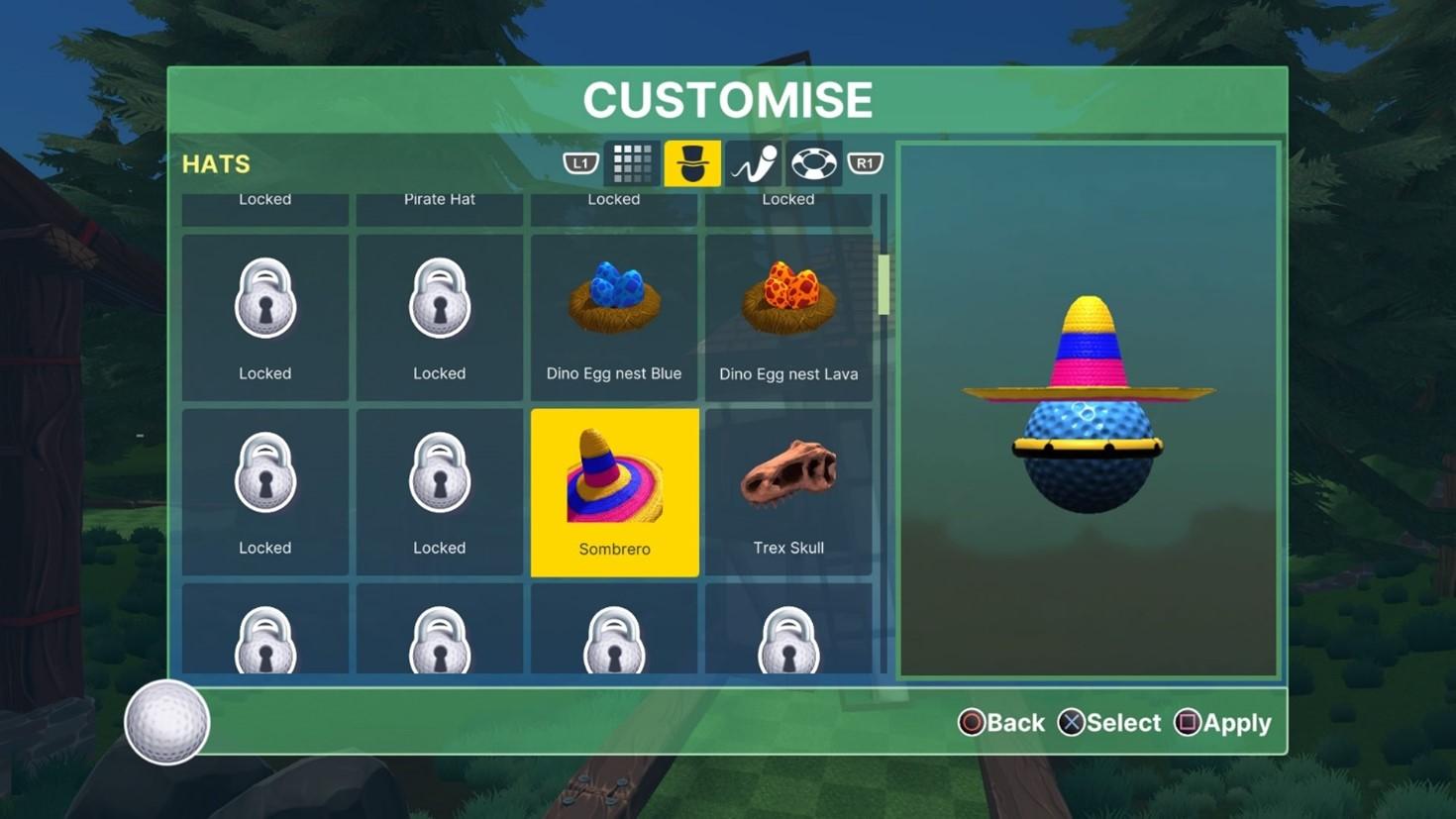 Golf ball customization menu.
