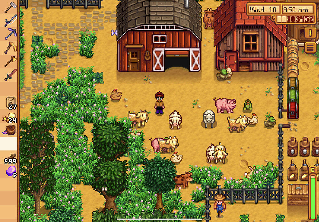 Player is in the yard surrounded by sheep, pigs and chickens.