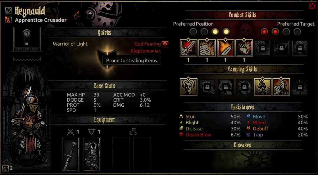 Character sheet with stats, abilities, resistances and quirks.