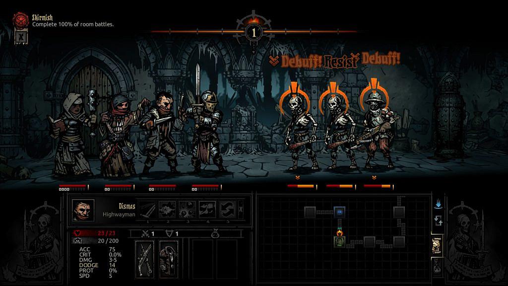 Four heroes fighting against three skeletons.