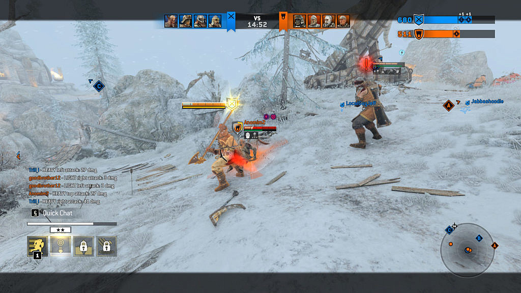 A viking player engaged in a one versus two fight.