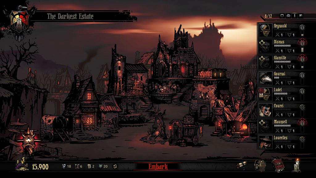 Menu with a list of characters and buildings in the background.
