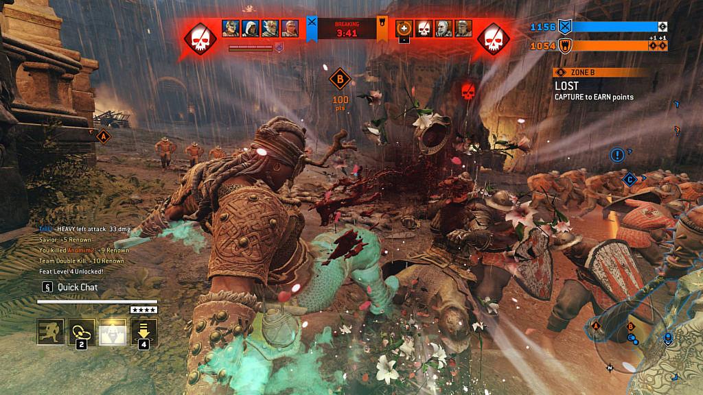 A viking berserker beheading an enemy character (blood, no gore).