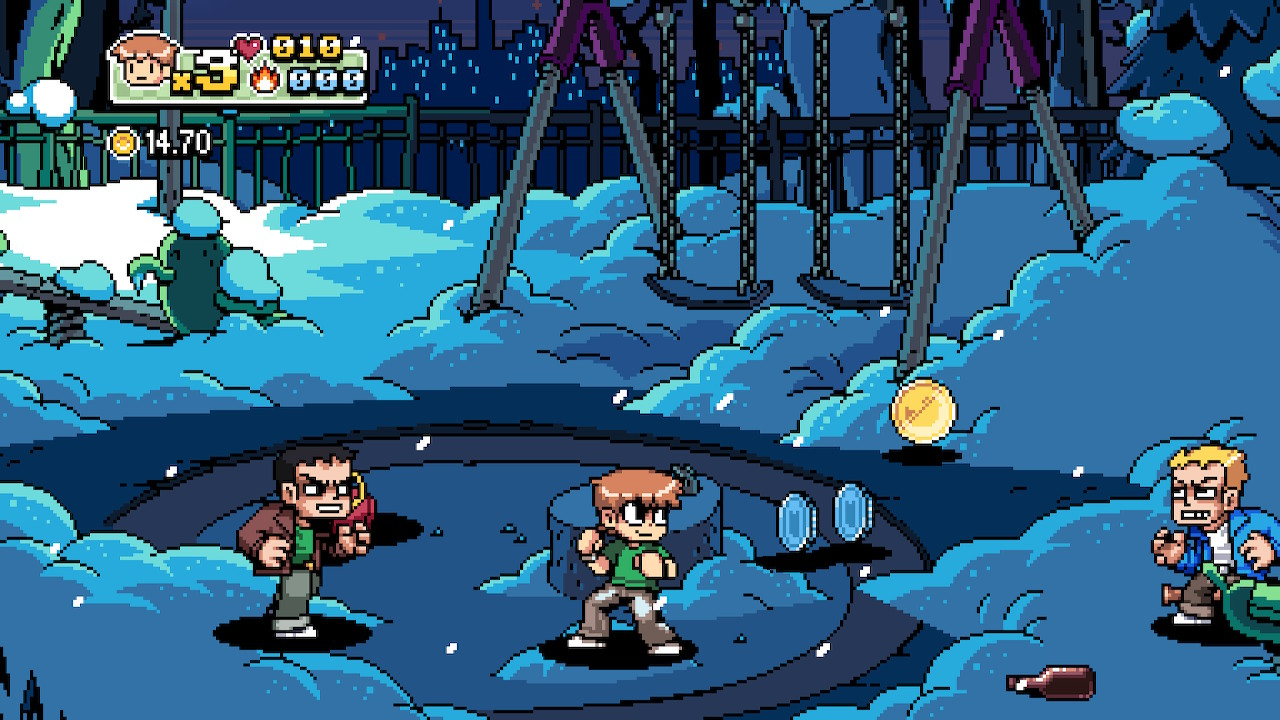Scott Pilgrim with enemies on his either side and some coins lying on the ground. The stage features a snowy playground at night.