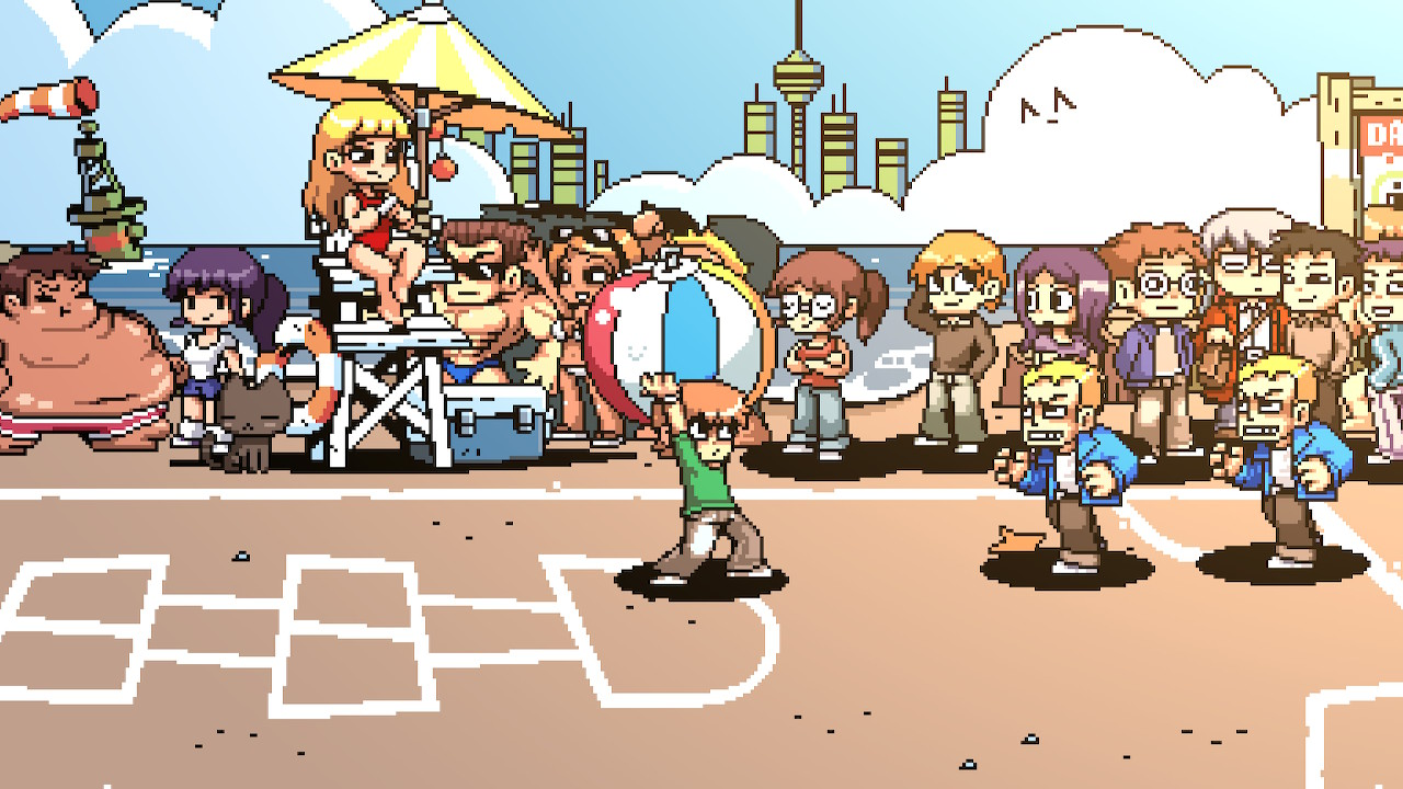 The dodgeball mini-game featuring Scott holding a giant beach ball over his head. Two enemies are approaching him from right.