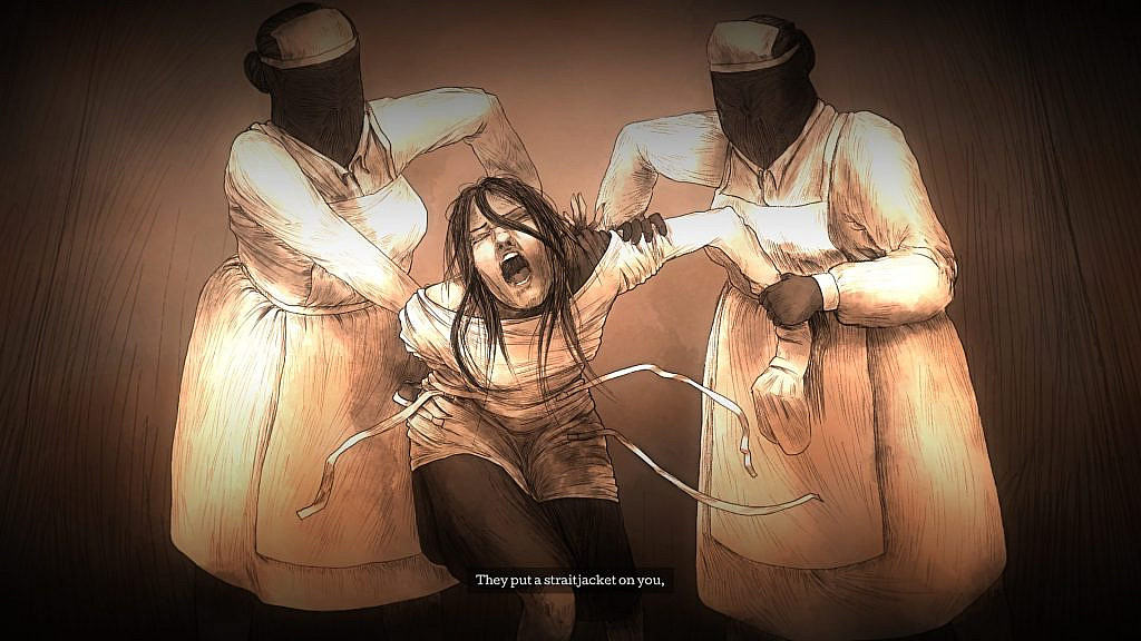 Flashback of protagonist trying to resist two faceless nurses putting her into a straitjacket