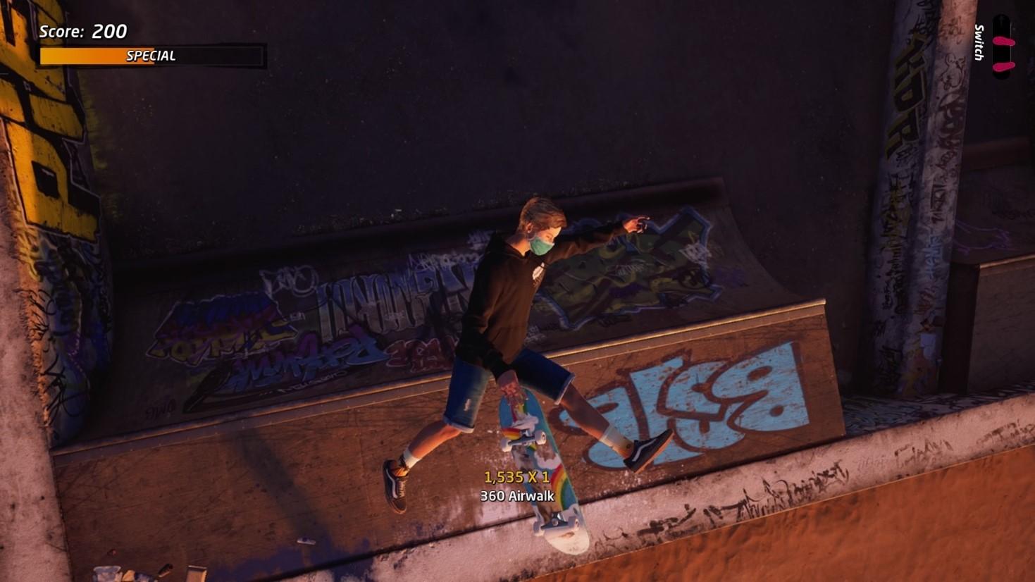 Player doing an Airwalk trick in the air.