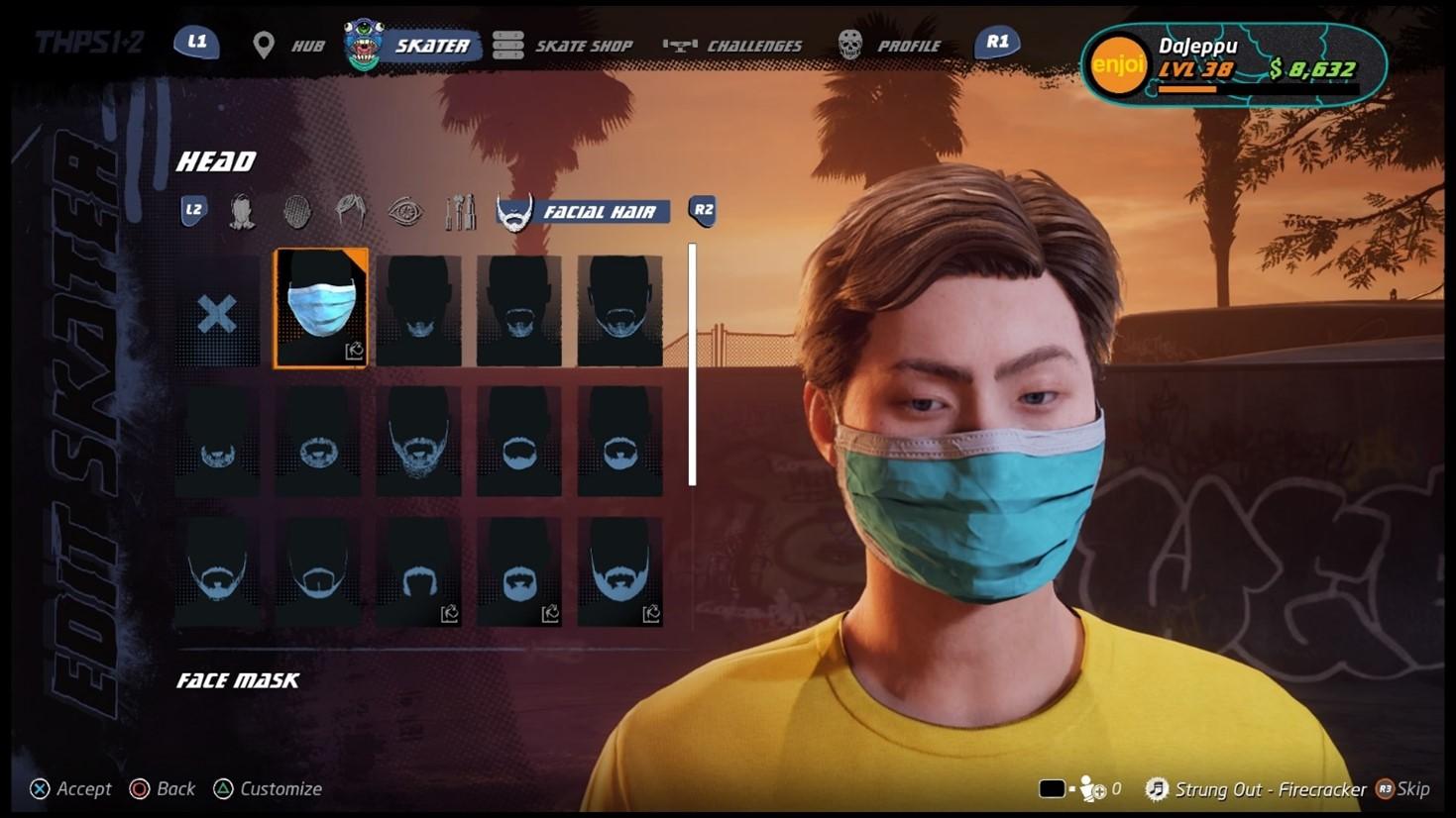 Player in customization menu wearing a face mask.