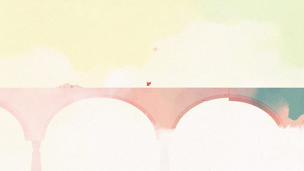 protagonist running on a bridge with no obstacles.