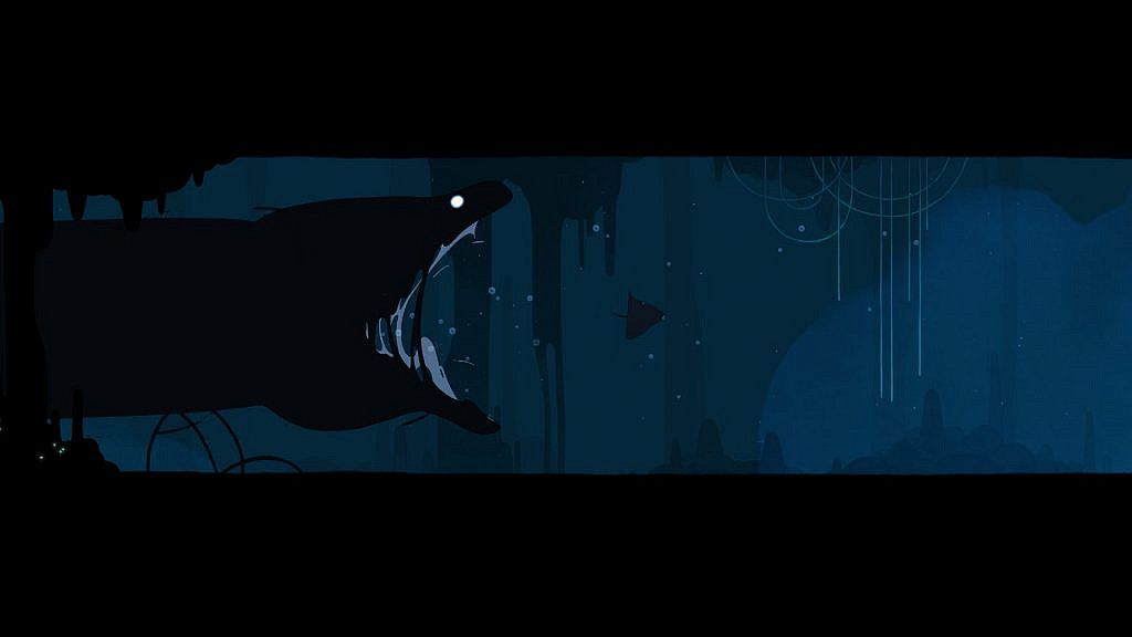 A giant moray chasing protagonist in a narrow underwater cave