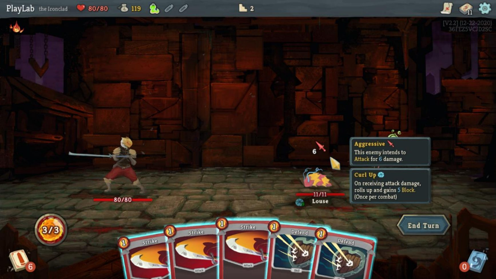 Character seen fighting against a monster, several cards in view