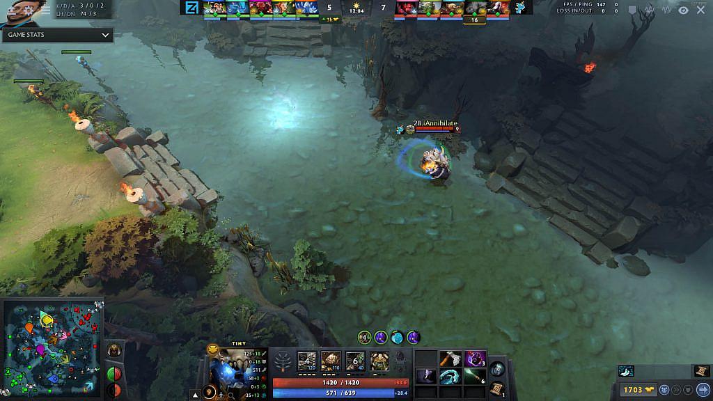 A screenshot of a Dota 2 match.