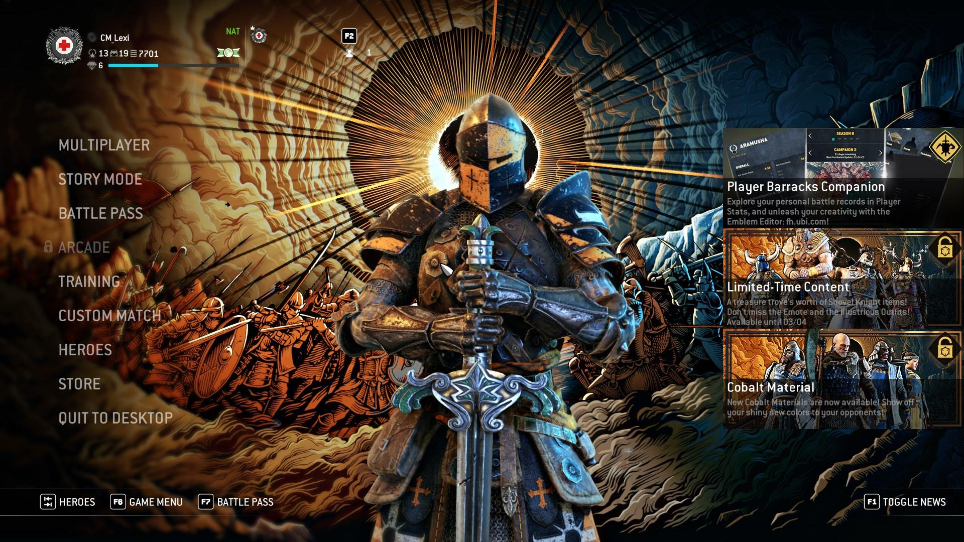 Main menu of For Honor, showing the different options, with the character Warden in the center posing