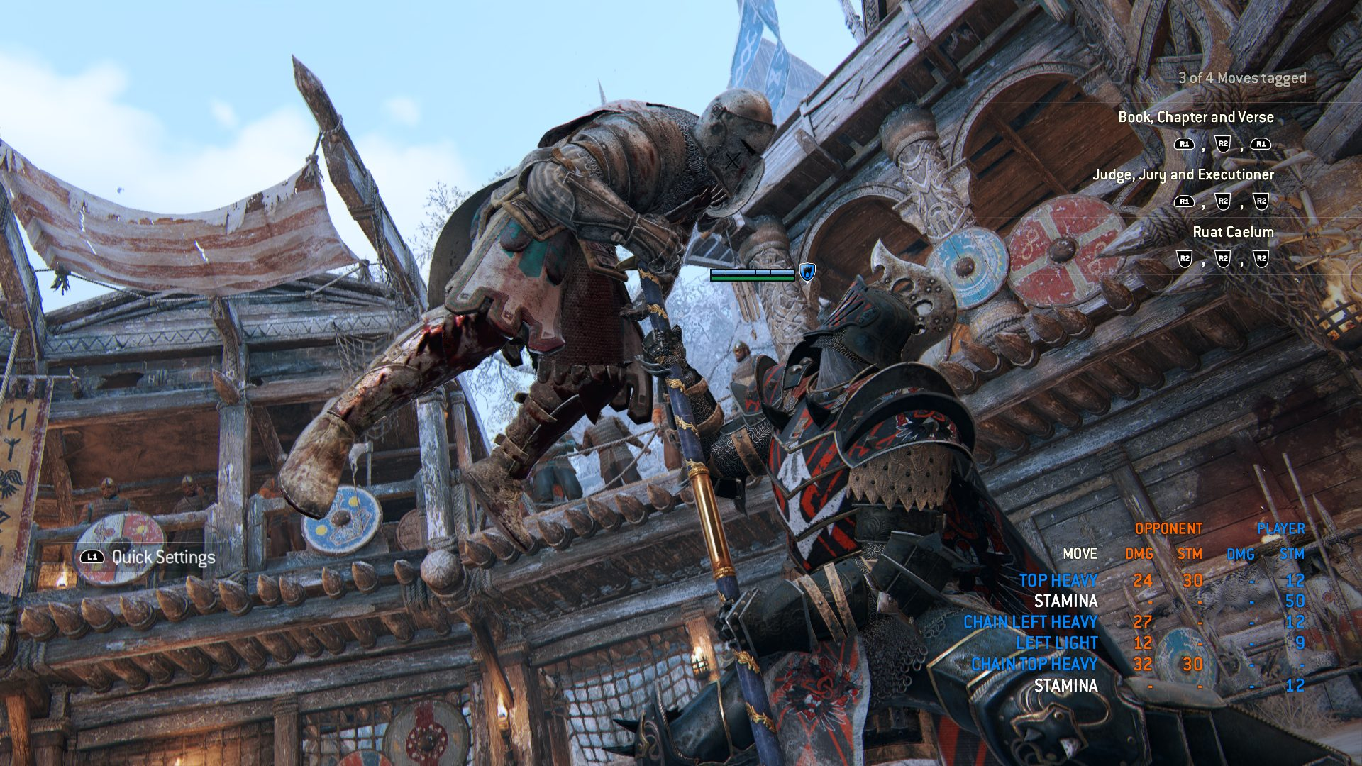 In-game screenshot of the Lawbringer executing an enemy by piercing his chest with his halberd