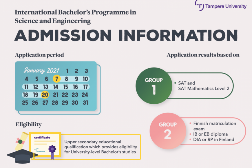 Admissions based on either SAT test results, or direct admission via Finnish matriculation examination/IB/EB/RP or DIA diploma (completed in Finland).