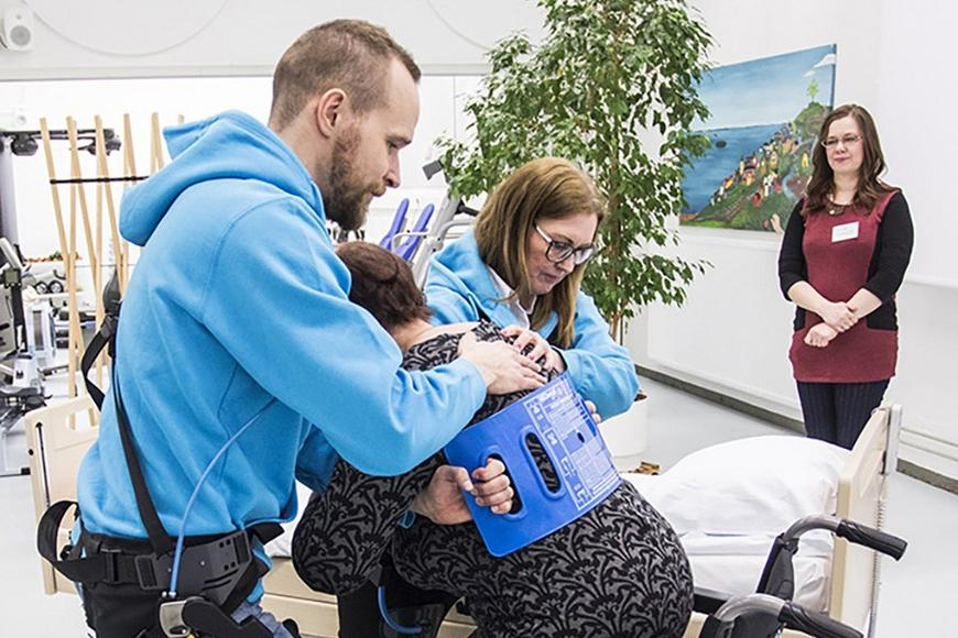 An exoskeleton vest was used in a Finnish study where nurses assisted patients from a hospital bed into a wheelchair.