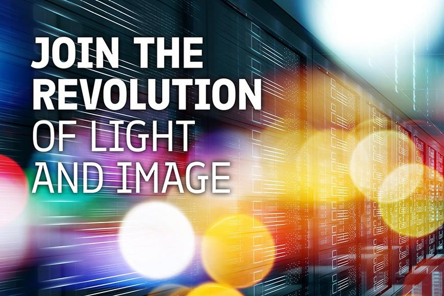 Join the revolution of light and image text on abstract background.