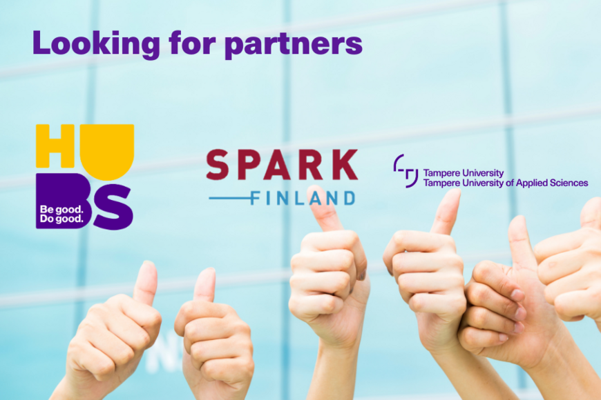 Three pairs of hands showing thumbs up in front of a light-blue backround. HUBS, Spark Finland and Tampere Universities logos in the backround.