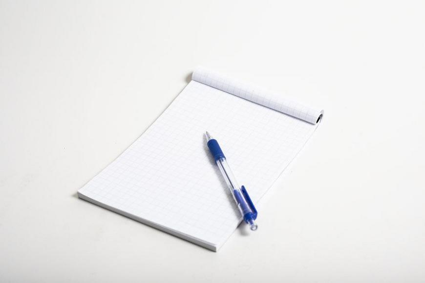 writing pad and a pen